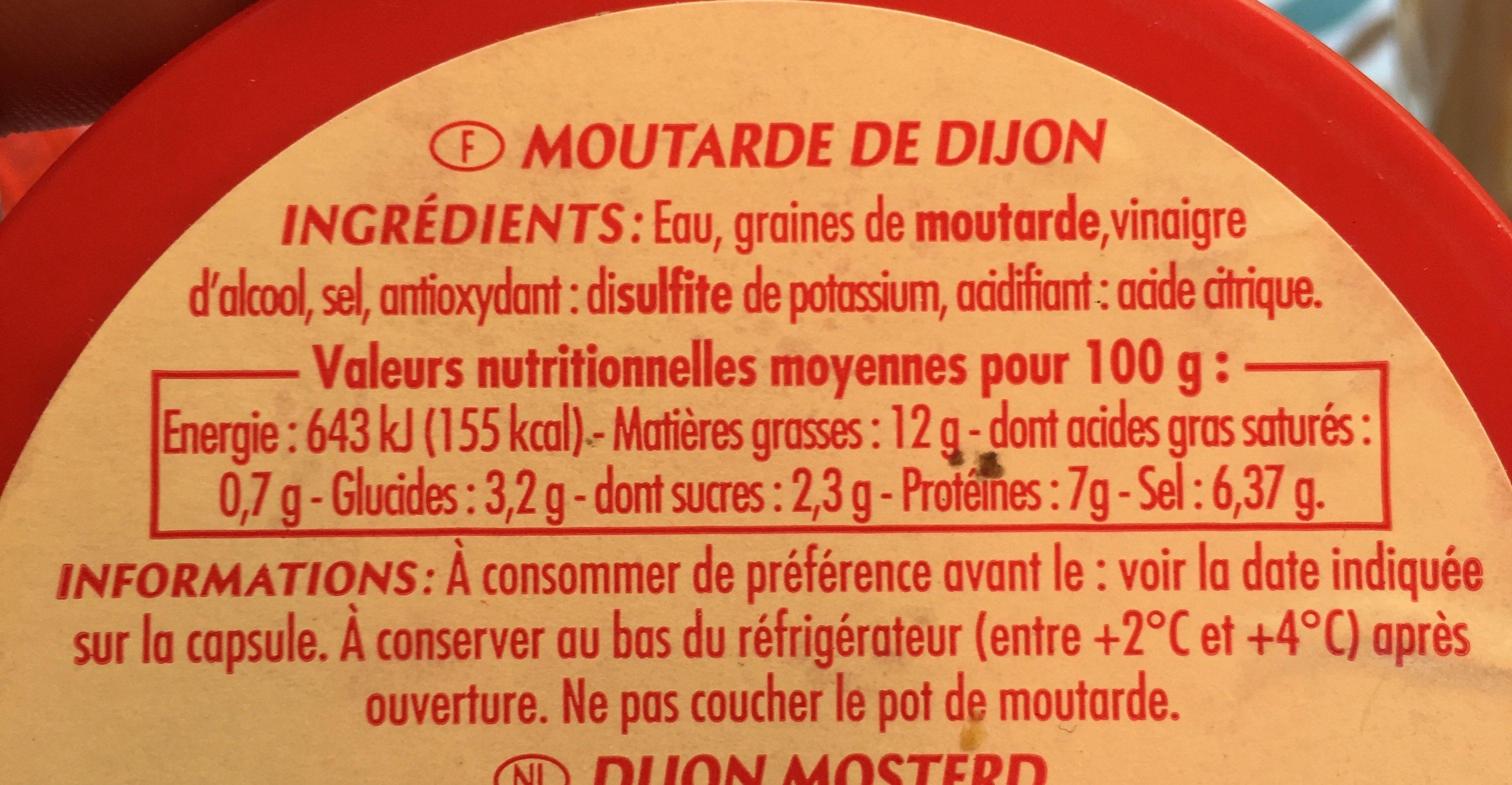 La Moutarde de Dijon, forte et onctueuse - Ingrédients - fr