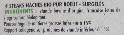 Steaks hachés pur bœuf bio 15% mg - Ingredients - fr