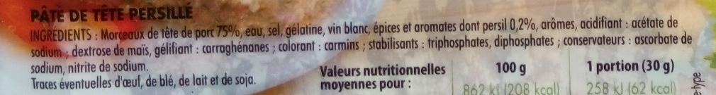 Pâté de Tête recette persillée - Ingrediënten - fr