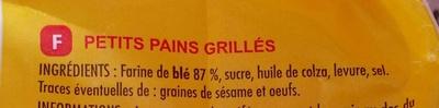 Petits pains grillés nature - Ingrédients - fr