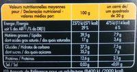 Noir Amandes Entières - Nutrition facts - fr