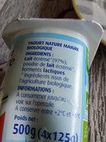 Yaourt 0% BIO pâturages - Informations nutritionnelles - fr