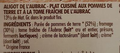 Ids Aligot De L Aubrac - Ingredients