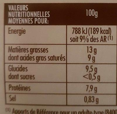 Ids Aligot De L Aubrac - Nutrition facts