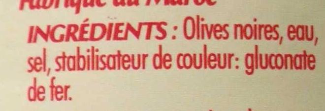 Olives noires confites dénoyautées - Ingrediënten