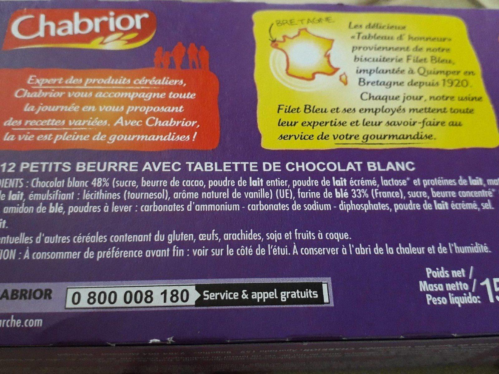 Tableau d'honneur Chocolat Blanc - Ingrédients - fr
