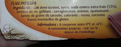 Flan Pâtissier - Cuit & doré au four - Ingredients