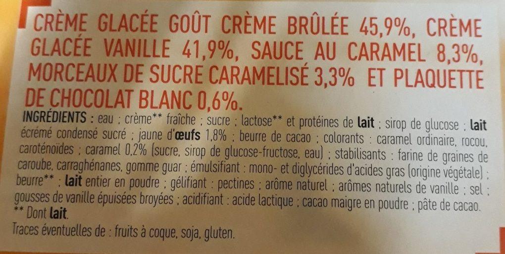 Bûche glacée façon crème brûlée - Ingredients