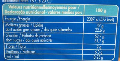 Délice de lait - Informations nutritionnelles