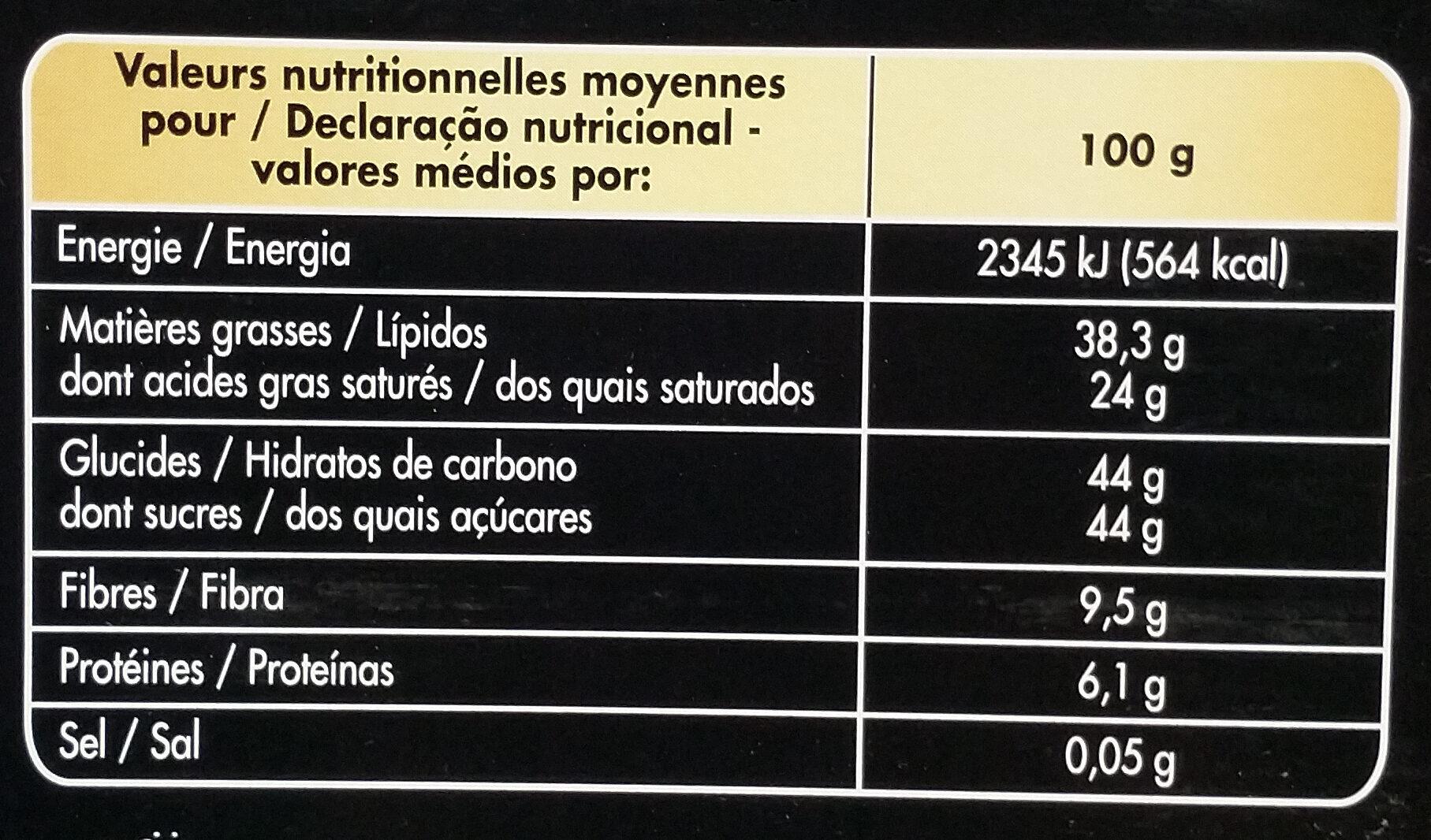 Noir truffé fantaisie - Informations nutritionnelles