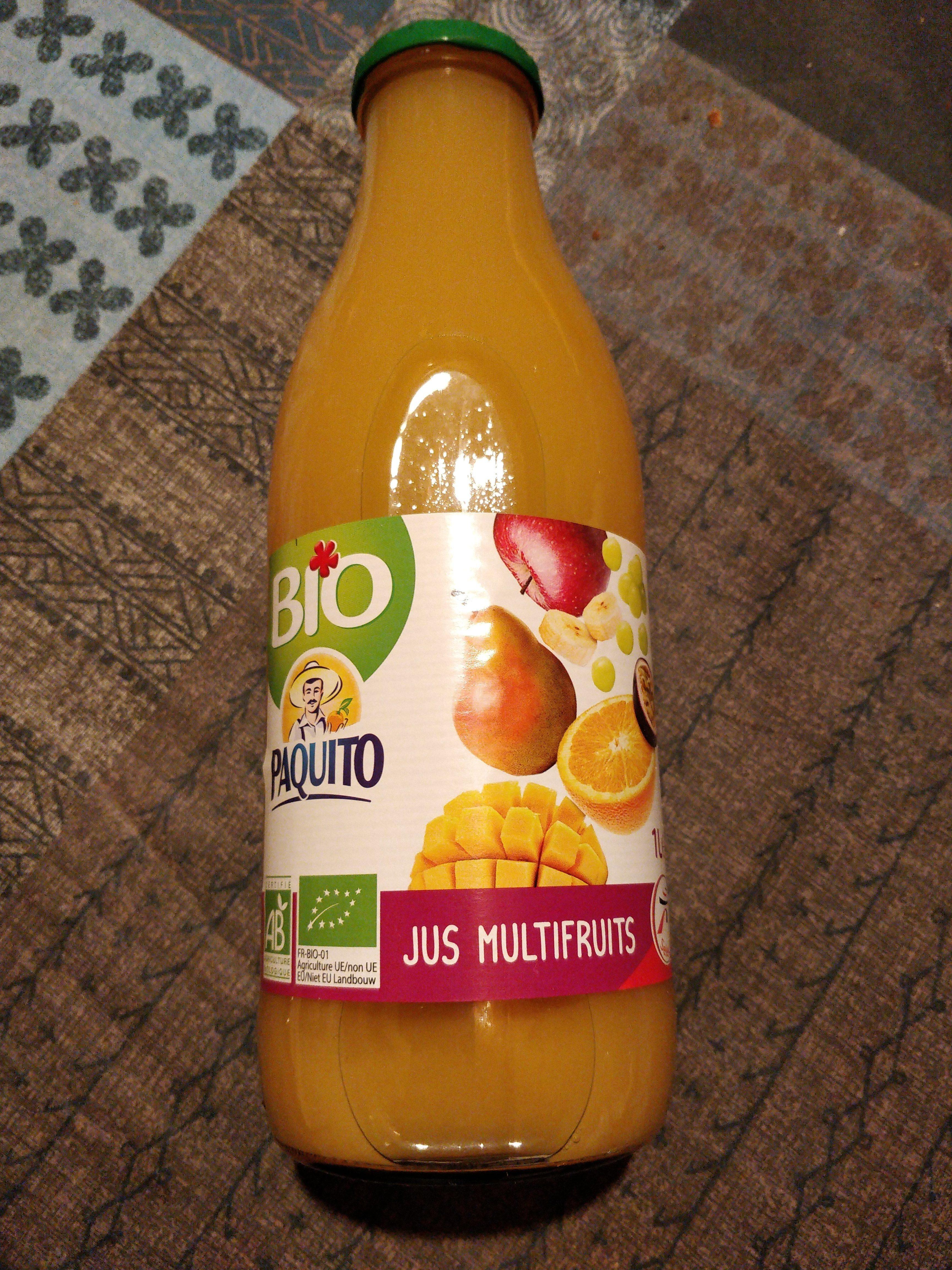 100 pur jus multifruits bio la bouteille en verre d 39 1 litre paquito. Black Bedroom Furniture Sets. Home Design Ideas