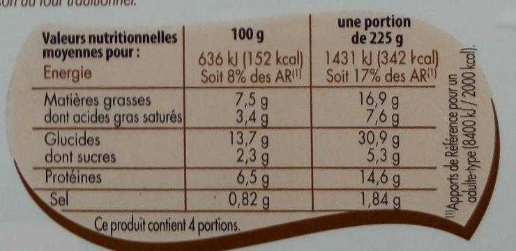 Lasagne à la bolognaise - Nutrition facts - fr