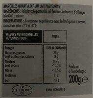 Maroilles quart aop - Nutrition facts - fr