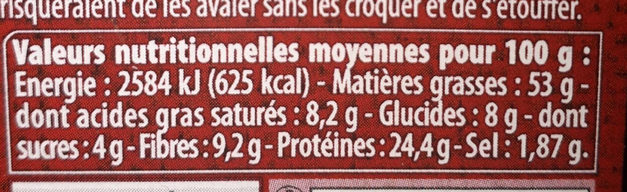 Cacahuètes de comptoir, grillées & salées - Informations nutritionnelles - fr