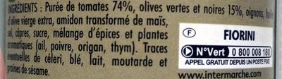 Tomate Olives - Ingrédients