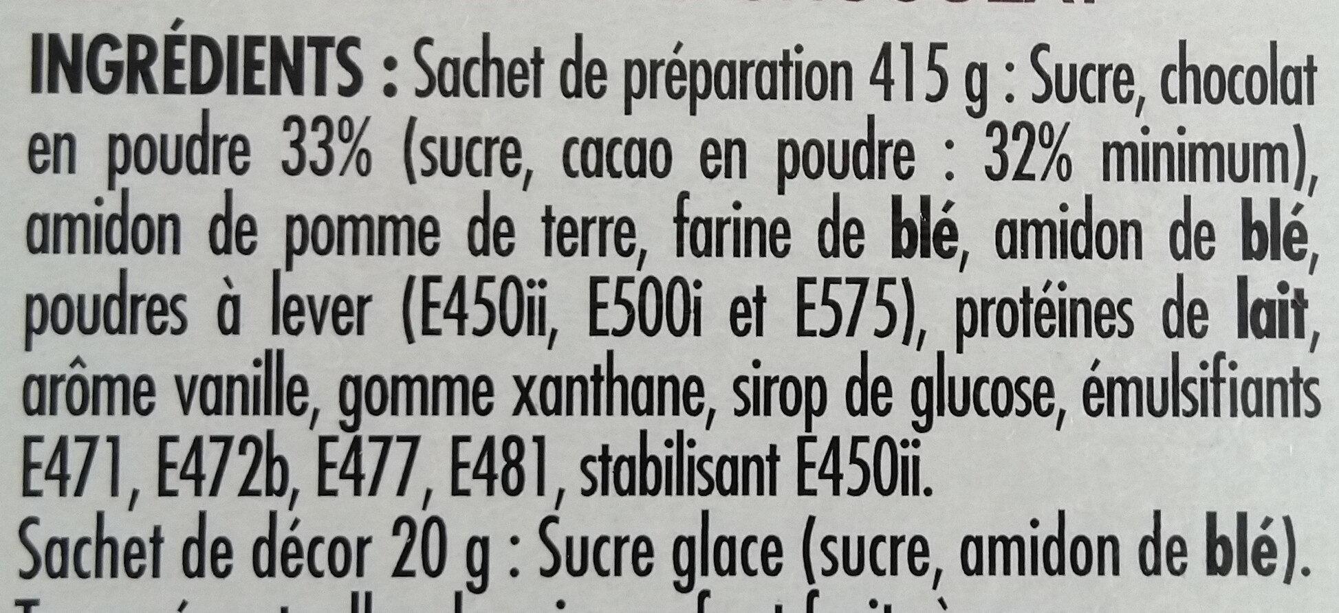 Préparation pour Moelleux au chocolat - Ingrédients