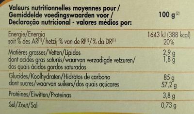 Préparation pour Moelleux au chocolat - Informations nutritionnelles