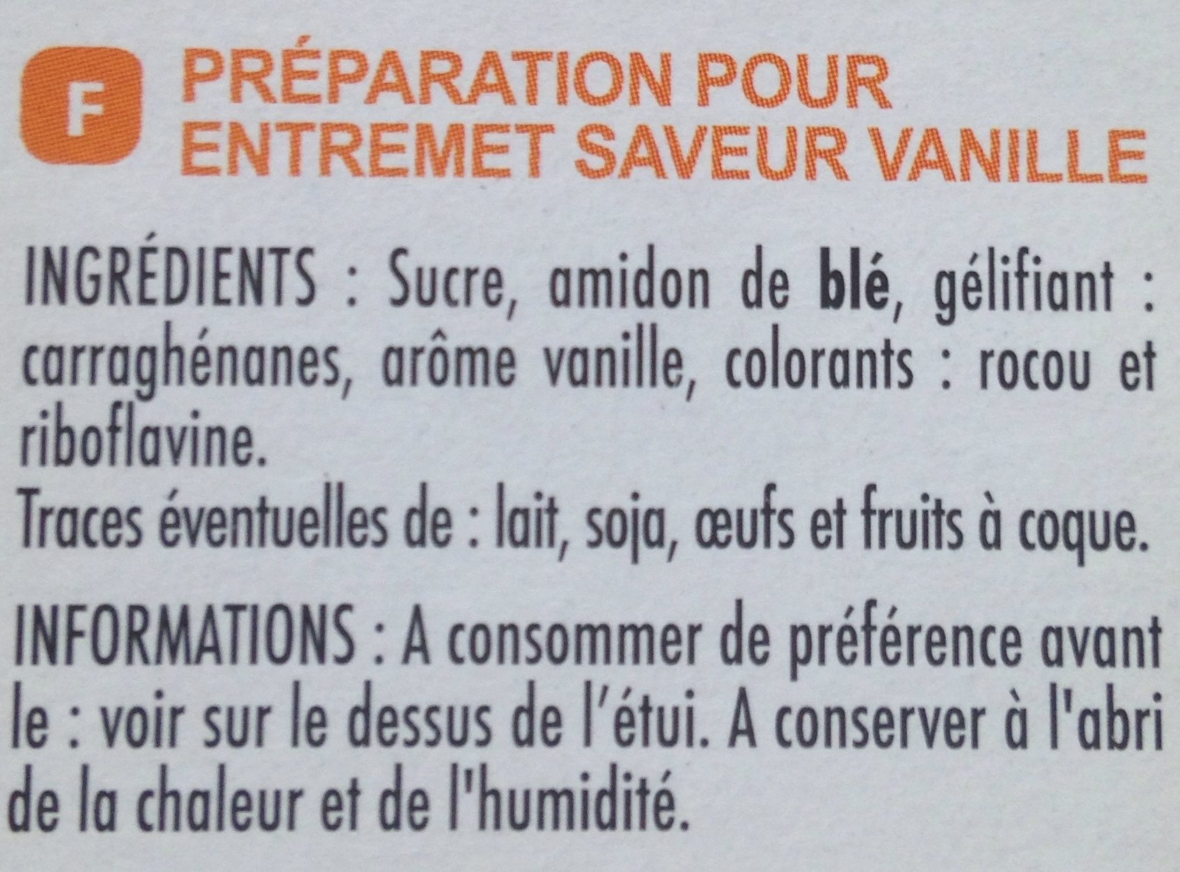 Préparation pour flan parfum vanille - Ingredients
