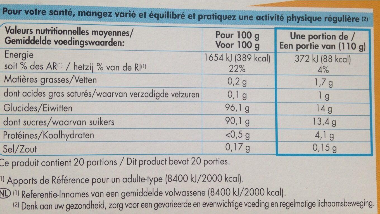 Préparation pour flan parfum vanille - Nutrition facts