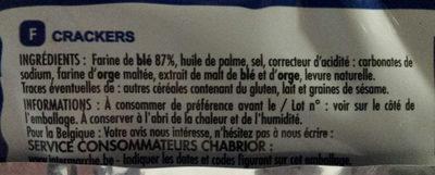 Crackers nature - Informations nutritionnelles