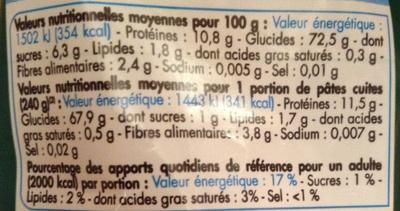 Fusilli (Pâtes de qualité supérieure) - Informations nutritionnelles - fr