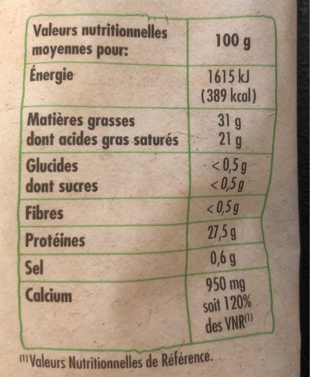 emmental râpé au lait cru bio - Informations nutritionnelles - fr