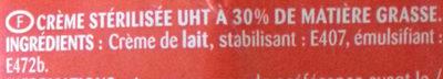 Crème entiere fluide 30% - Ingrédients - fr