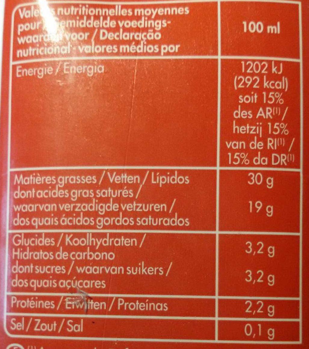 Crème entiere fluide 30% - Informations nutritionnelles - fr