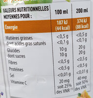100% Pur Jus Orange sans pulpe - Nutrition facts - fr