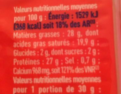 Emmental Français - Voedingswaarden - fr