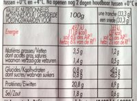 Jambon cuit artisanal - Nutrition facts - fr