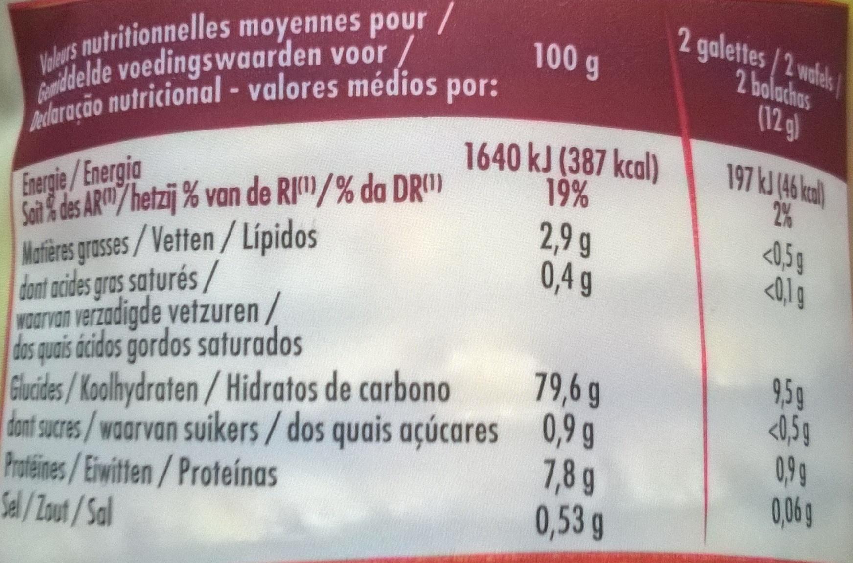 Galettes de Maïs - Voedingswaarden