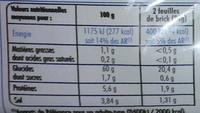 Feuilles de Brick - Nutrition facts - fr