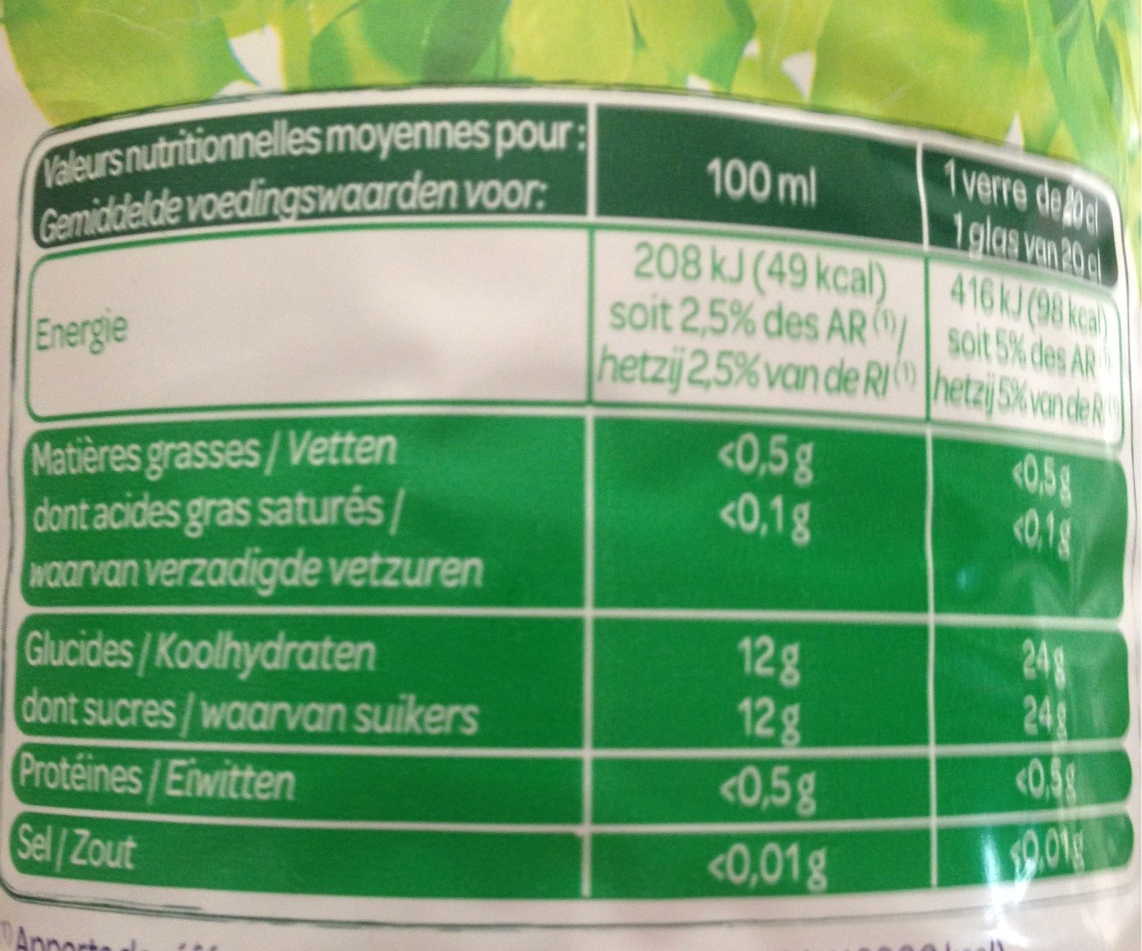 100% Pur Jus MultifruitsJus de 7 fruits - Nutrition facts