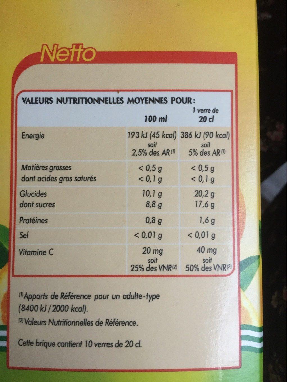 Jus d'orange 100% pur jus 2L - Voedingswaarden - fr