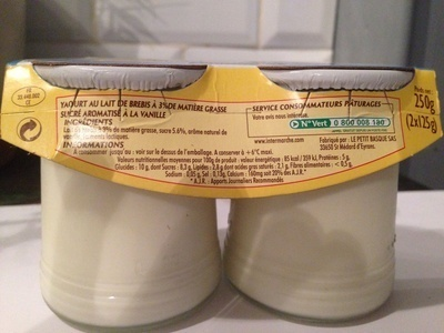 Yaourt pur brebis à la vanille - Ingredients - en