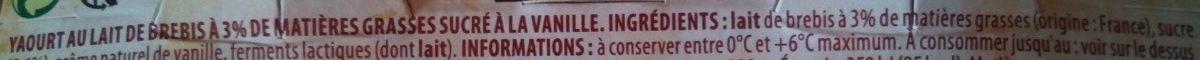 Yaourt pur brebis vanille - Ingrédients - fr