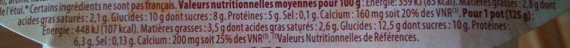 Yaourt pur brebis à la vanille - Nutrition facts - fr