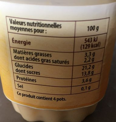 Riz au lait - Voedigswaarden