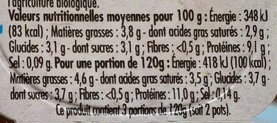 Fromage Frais Nature (3,8 % MG) - Informations nutritionnelles - fr