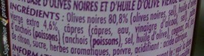 Tapenade noire, recette provence - Ingrédients - fr