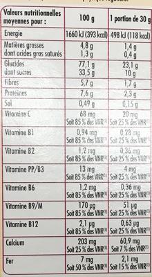 Céréales soufflées caramel & chocolat - Información nutricional