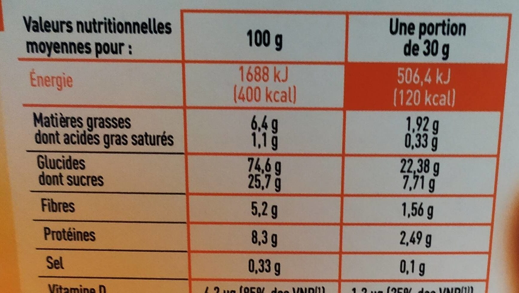 Céréales soufflées caramel & chocolat - Informations nutritionnelles