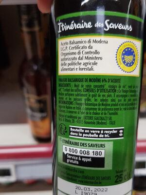 Vinaigre balsamique de Modène - Informations nutritionnelles - fr