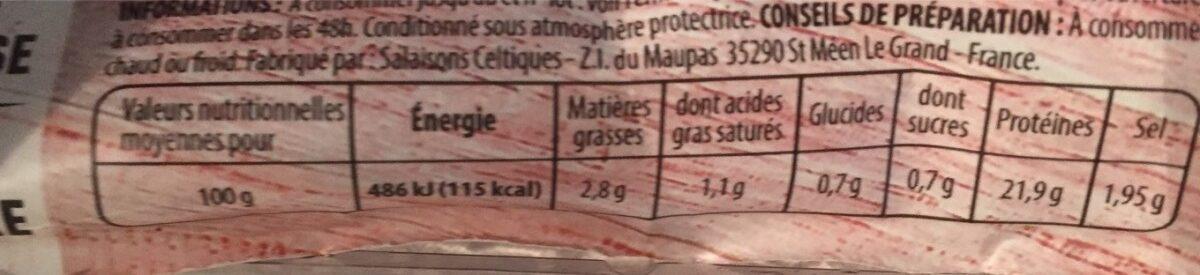 Mon Rôti de Bœuf - Nutrition facts - fr