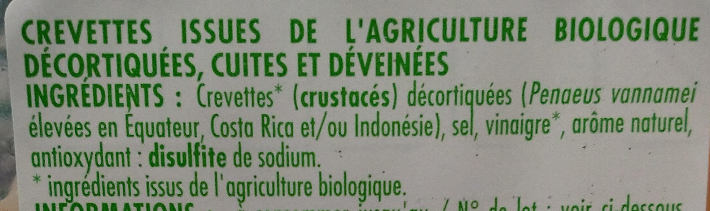 Crevettes décortiquées et cuites - Ingrédients - fr