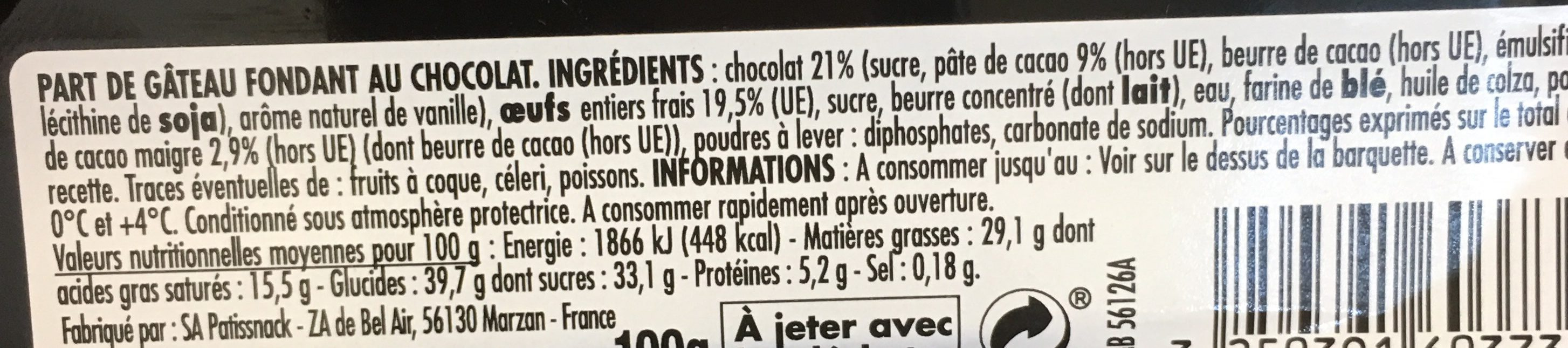 Fondant au Chocolat (78g) - Ingredients