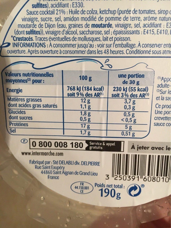 Crevettes & Sa Sauce Cocktail - Voedingswaarden - fr