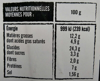 Flammekueche - Nutrition facts