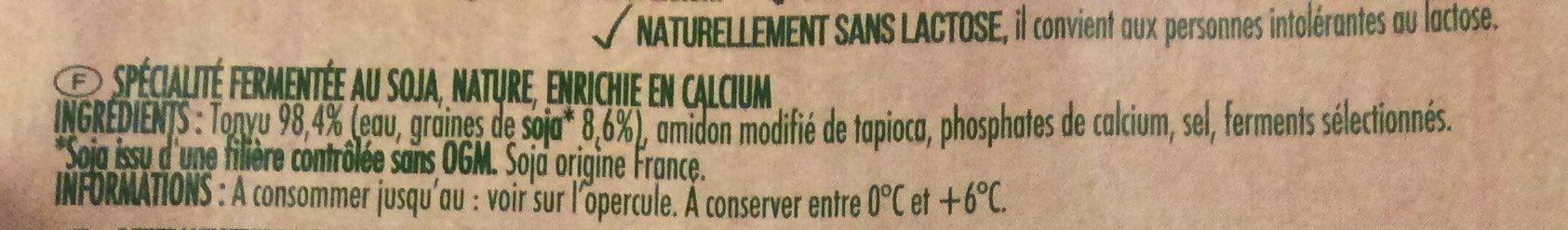 Soja nature - spécialité végétale - Ingrédients - fr